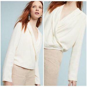 Anthropologie Ett:twa Buttoned Wrap Blazer Ivory